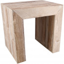 Holz Hocker Freddy, H50cm, L50B40cm, white-wash